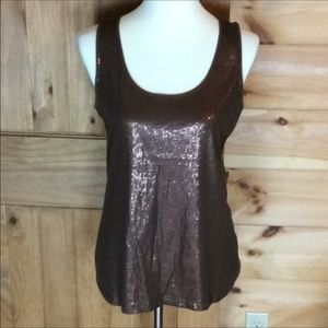 Dana Buchman brown sequin front tank top Medium